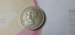 1889 ezüst spanyol 5 peseta 25 gramm 0,900