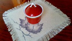 Hollóházi,piros,aranyozott,art deco cukortartó,bonbonier