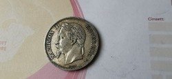 1868 ezüst Francia III. Napóleon ezüst 5 frank 25 gramm 0,900 szép db