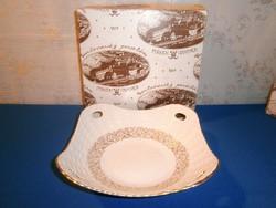 Régi Pirken Hammer porcelán aranyozott kínáló tál eredeti dobozában négyszögletes