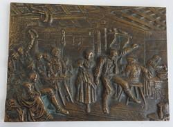 Mulatozók - bronz falikép