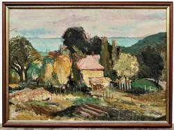 Blahos Rudolf (1917 - 1986) Balatoni tájc. olajfestménye 77x57cm EREDETI GARANCIÁVAL