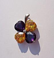 Brera 925-ös 4 színes csiszolt köves virág formájú medál
