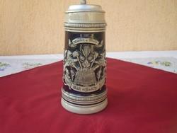 Nagyméretű Ón fedeles Gerz korsó - 1 literes.