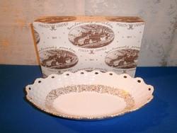 Régi Pirken Hammer porcelán aranyozott kínáló tál eredeti dobozában ovális