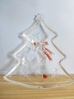 Különleges retro,vintage karácsonyfa alakú üveg kínáló,tál