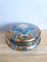 Különleges antik,nagyméretű,dúsan aranyozott,türkiz bonbonier