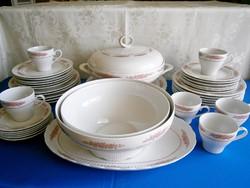 6 személyes 42 db-os Ilmenau Henneberg porcelán étkészlet és reggeliző kávés készlet virág mintával