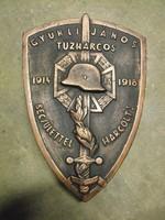 Nagy 40cm Tömör Fémből Tűzharcos I.vhs 1914 Frontharcos sisak katona kard pajzs plakett