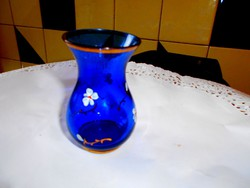 Parádi üveg ibolya  váza-kézzel festett