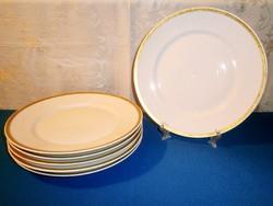 6 db régi Limoges porcelán lapos tányér arany széllel 24,5 cm átmérő