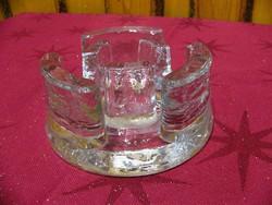 Art deco vastag üveg gyertyatartó