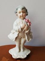Ens rózsacsokros barokk ruhás úriember, antik kézzel festett jelzett porcelán