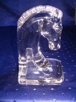 Öntött üveg, ló formájú könyvtámasz/levélnehezék