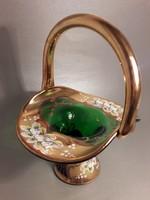 Szépséges dúsan aranyozott bohémia üveg kosár váza vastag füllel