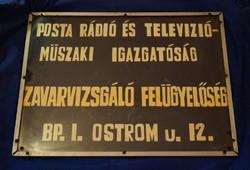 Posta Rádió és Televízió Műszaki Igazgatóság tábla