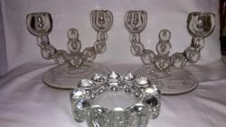 Üveg kétkaros gyertyatartó pár asztalközéppel