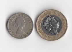 1 Pound 2017 és 6 Pece 1956 Anglia/Egyesült Királyság