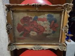 Szép, öreg virágcsendélet, kartonon, kb.20x40