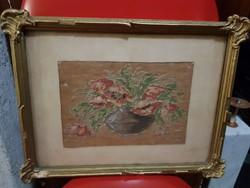 Kicsi selyemkép, vastagon festve, eredeti keretében, kb.20x30-as