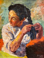 Berendi Ferenc / Haját fonó nő 1958