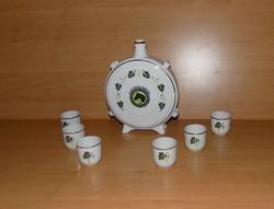 Hollóházi porcelán pálinkás készlet kulacs pohár Új Élet MGTSZ Orosháza (4/K)