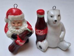 Retro porcelán karácsonyfadísz Coca-Cola mikulás jegesmedve 2 db