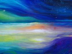 Fényjáték a horizonton, 120x120cm,  Simon Tünde olajfestmény