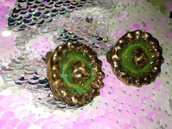 Csodás zöld - arany kerámia üveg ? klipsz, régi női ékszer  a 40-es évek stílusában