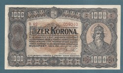 1000 Korona 1923 aUNC Nyomdahely nélkül