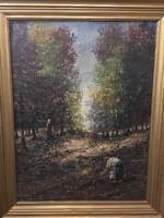Tihanyi János Lajos : Gombaszedők az őszi erdőszélen