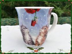 Karácsonyi jelenetes kismacska mintás minőségi porcelán bögre