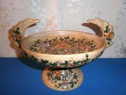 Különleges és nagyon ritka, jelzett kerámia kínáló tál, virág mintás asztalközép