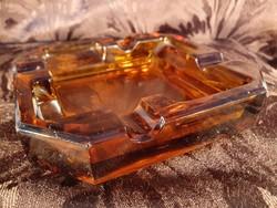 G_004 Art deco színezett üveg borostyánsárga hamutál négyzetes