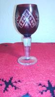 Üveg pohár, bordó, vastagfalú