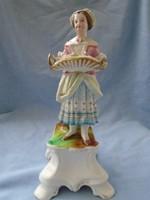 Korai Passau porcelán a virágárus hölgy talapzaton, igen finoman kidolgozott darab MUZEÁLIS DARAB