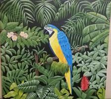 Papagáj  40×40 akril, vászon kép