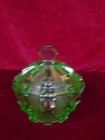 Bonbonier zöld üveg, magassága 14 cm, átmérője 14 cm. Különleges ritka darab.