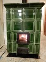 Hordozható zöld cserépkályha 108x76x53 cm nagy tűztérrel