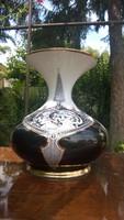 Hollóházi  Szász-Jurcsák nagy hasas vázája-díszváza-öblös váza hibátlan ép m 24 cm