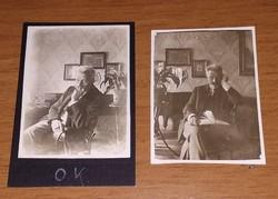 2 db antik, vintage, régi fotó, kép egyben eladó: Karosszékben ülő idős férfi