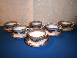Antik Sarreguemines porcelán kávés készlet, 6 csésze tányérkával