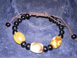 Keleti amulett, ásvány karkötő dzi gyöngyökkel, tibeti dzí köves uniszex ékszer