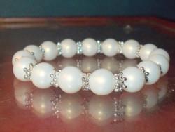 Fehér Jade ásvány Gyöngy ezüst kézműves Karkötő
