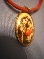 N2 Barokk Mária a kis Jézussal kézi festésű porcelán medál ritkaság már ezüst láncon