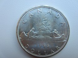 1966 Kanada kenu 23.5gr 0.800ag ezüst érme 36mm