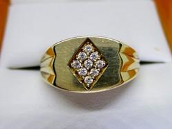 Szép antik art deco arany pecsétgyűrű fehér köves