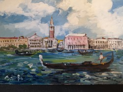 Bánfi József: Velence - olajfestmény kartonon