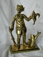 Sikeres vadász és a fácán, réz (öntvény) szobor