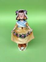 Antik, drótos billegő fejű kislány porcelán sótartó ritkaság